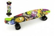 Skateboard 60cm nosnost 90kg potisk barevný, černé kovové osy, černá kola