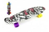 Skateboard 60cm nosnost 90kg černo-červený,černé kovové osy, kola mix barev(žlutá,modrá,růžová,oranž