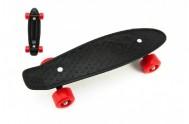Skateboard 43cm, nosnost 60kg plastové osy, černá, červená kola