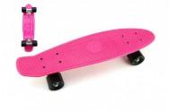 Skateboard 60cm nosnost 90kg, kovové osy, růžová barva, černá kola