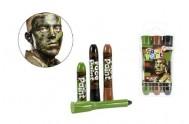 Barvy obličejové armáda 3ks v plastovém pouzdru 6x11cm karneval