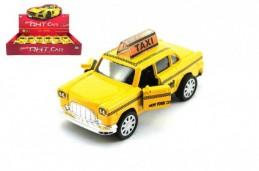 Auto taxi kov 11cm na zpětné natažení na baterie se světlem se zvukem 12ks v boxu - Rock David