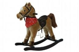 Kůň houpací hnědý plyš na baterie se zvukem a pohybem nosnost 50kg v krabici - Rock David