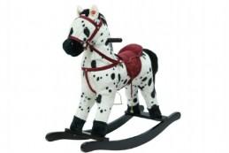 Kůň houpací bíločerný plyš na baterie se zvukem a pohybem nosnost 50kg v krabici - Rock David
