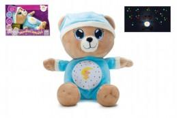 Medvídek Usínáček modrý plyš na baterie se světlem a zvukem v boxu - Rock David