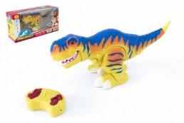 Dinosaurus chodící RC plast 38cm na baterie se zvukem se světlem 2,4GHz v krabici - Rock David