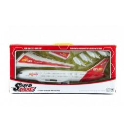 Letadlo plast 40cm na setrvačník na baterie se zvukem se světlem v krabici