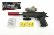 Pistole plast/kov 33cm na vodní kuličky + náboje na baterie  se světlem v krabici 34x13x4cm