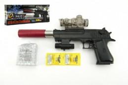 Pistole plast/kov 33cm na vodní kuličky + náboje na baterie se světlem v krabici 34x13x4cm - Rock Da