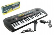 Piánko plast s mikrofonem + adaptér 37 kláves 50cm v krabici