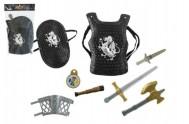 Rytířská sada meč sekera brnění 8ks plast 30x40cm v sáčku