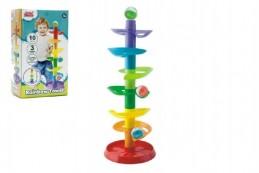 Kuličková dráha - věž 50cm 10ks 3 kuličky plast v krabici 9m+ - Rock David
