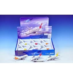 Letadlo dopravní kov 19cm na zpětný chod na baterie se zvukem se světlem asst 3 barvy 12ks v boxu
