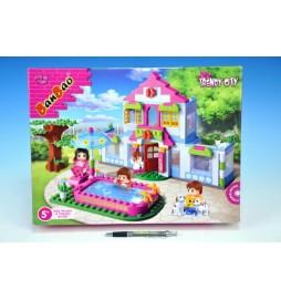Stavebnice BanBao Domek s bazénem 405ks + 4 figurky v krabici 40x30x6,5cm