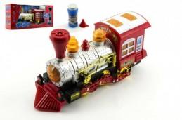 Lokomotiva/Vlak s bublifukem plast 27cm na baterie se zvukem se světlem v krabici - Rock David