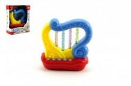 Harfa plast 11cm na baterie se zvukem se světlem v krabičce