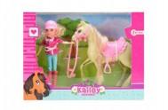 Panenka žokejka + kůň plast v krabici 26,5x20x7cm