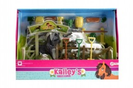 Stáj pro koně + 2ks kůň s doplňky plast v krabici - Rock David