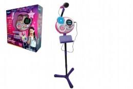 Kidi Superstar růžový mikrofon s efekty 8v1 1,35m plast na baterie v krabici 37x40x14cm - Rock David