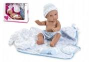Panenka/miminko 33cm tvrdé tělo s doplňky v krabici