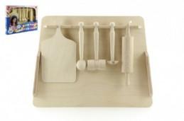 Kuchyňské nádobí prkénko, váleček, palička dřevo v krabici 40x30x4,5cm - Rock David