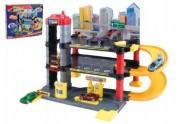 Parkovací garáž + auto 28ks plast v krabici 40x35cm