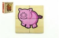 Puzzle 4ks pro nejmenší dřevo Moje první zvířátka MPZ v dřevěné krabičce 11x11x4 cm