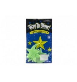 Hvězdy svítící ve tmě 5,5cm plast na kartě 12x20cm