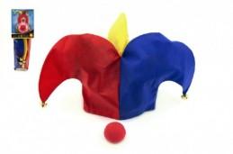 Klaunský klobouk látkový + nos na kartě 11x30cm - Rock David