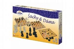 Šachy a dáma dřevo společenská hra v krabici 35x23x4cm - Rock David