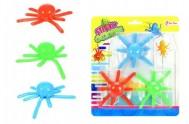 Chobotnice lezoucí po skle 3ks plast 8cm na kartě