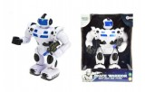 Robot válečník plast 25cm na baterie chodící se světlem a zvukem v krabičce