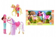 Panenka žokejka + kůň 4ks plast v krabici 48x26x12cm