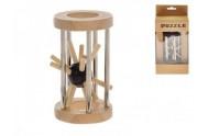 Hlavolam ježek v kleci 8cm dřevo/kov asst 2 barvy v krabičce