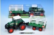 Traktor s vlečkou plast 43cm v krabici