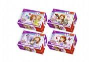 Minipuzzle Princezna Sofia 54dílků asst 4 druhy v krabičce 9x6x4cm 40ks v boxu