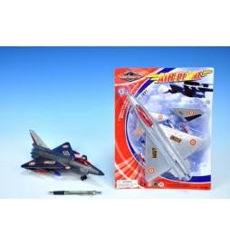 Letadlo plast 28cm na setrvačník asst 2 barvy na kartě