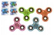 Fidget Spinner glitter plast asst 4 barvy v krabičce 11x11cm