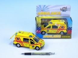 Auto ambulance kov 14cm na zpětné natažení na baterie 3xLR41 se zvukem se světlem v krabici - Teddies s.r.o