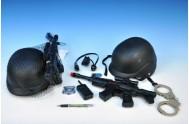 Policejní sada - samopal 38cm na setrvačník + přilba 21x20cm + doplňky v síťce