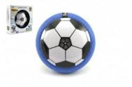 Míč/Disk fotbalový létající plast 14cm na baterie se světlem v krabičce