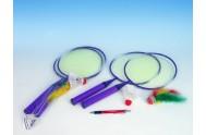 Badminton sada dětská - 2ks pálka 46cm + míček + košíček v síťce