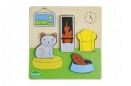 Puzzle dřevěné obývací pokoj v krabičce 14x20x2cm 18m+