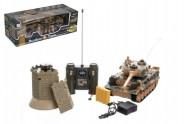 Tank RC plast 33cm + otočná věž na baterie+dobíjecí pack se zvukem a světlem v krabici 51x17x19cm