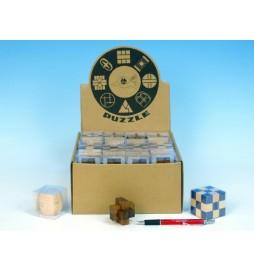 Hlavolam dřevo asst 7 druhů v krabičce 40ks v boxu