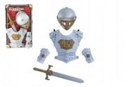 Rytířská sada meč štíty přilba plast na kartě 37x61x14cm