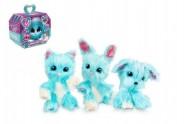 Zvířátko FUR BALLS tuláček pejsek/kočička/králík modrý plyš plast 10cm s doplňky v krabici24x20x10cm