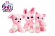 Zvířátko FUR BALLS tuláček pejsek/kočička/králík růžový plyš 10cm s doplňky v krabici24x20x10cm
