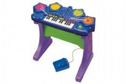 Piáno/klávesy s bubny plast 58x53x29cm na baterie se zvukem v krabici - Rock David
