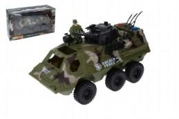 Auto vojenské obrněný transportér s doplňky plast 30cm volný chod v krabici 38x22x14cm - Rock David